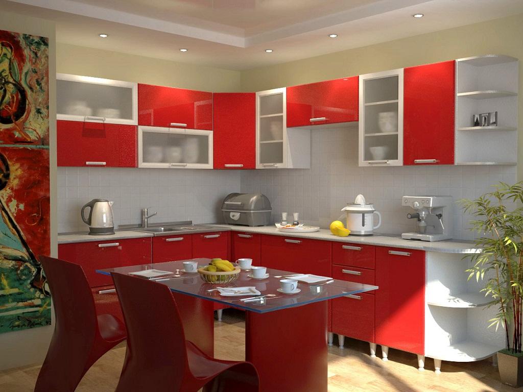 Дизайн красная кухня
